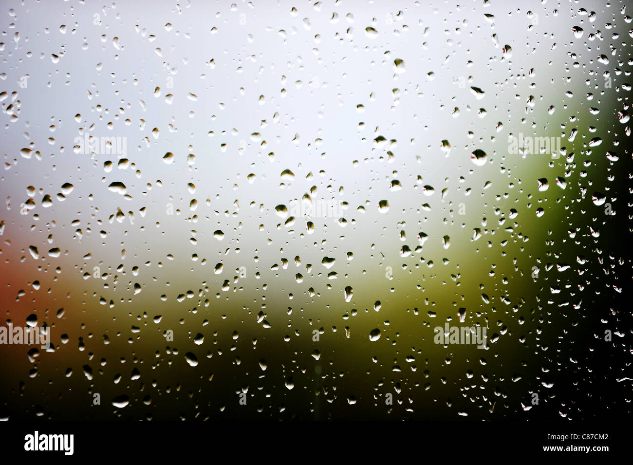 Rain on windows of a house in Bolton, Lancashire, England. Picture by Paul Heyes, Sunday October 09, 2011. - Stock Image