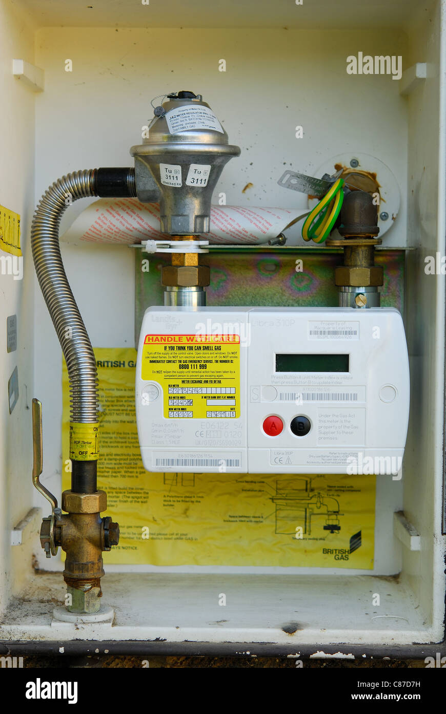 A modern domestic 'smart' gas meter. UK, 2011. - Stock Image
