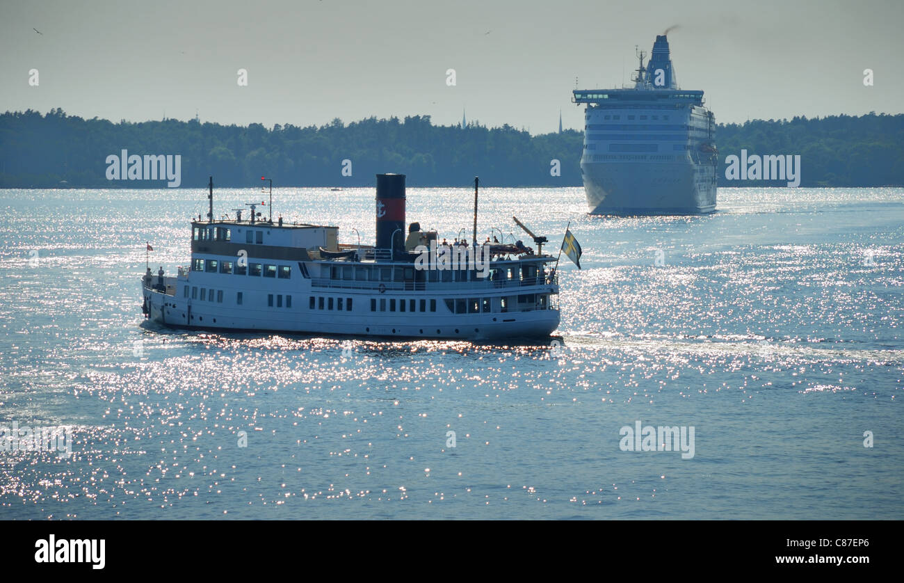 Passenger steamship and ferry in Baltic sea near to Stockholm, Sweden. - Stock Image