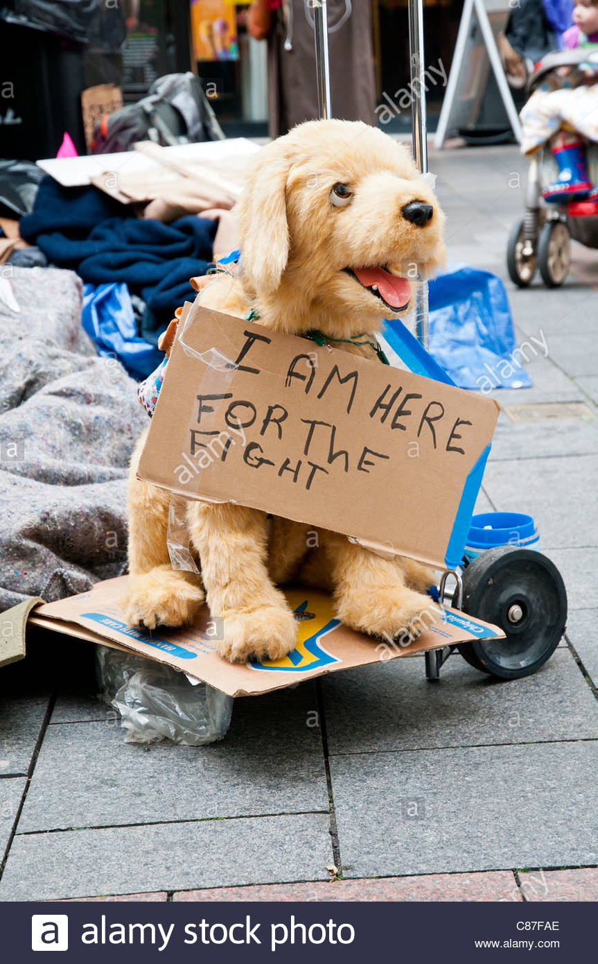 dog puppet with protest sign at Occupy Seattle on October 7, 2011, Westlake Park, Seattle, Washington, USA - Stock Image