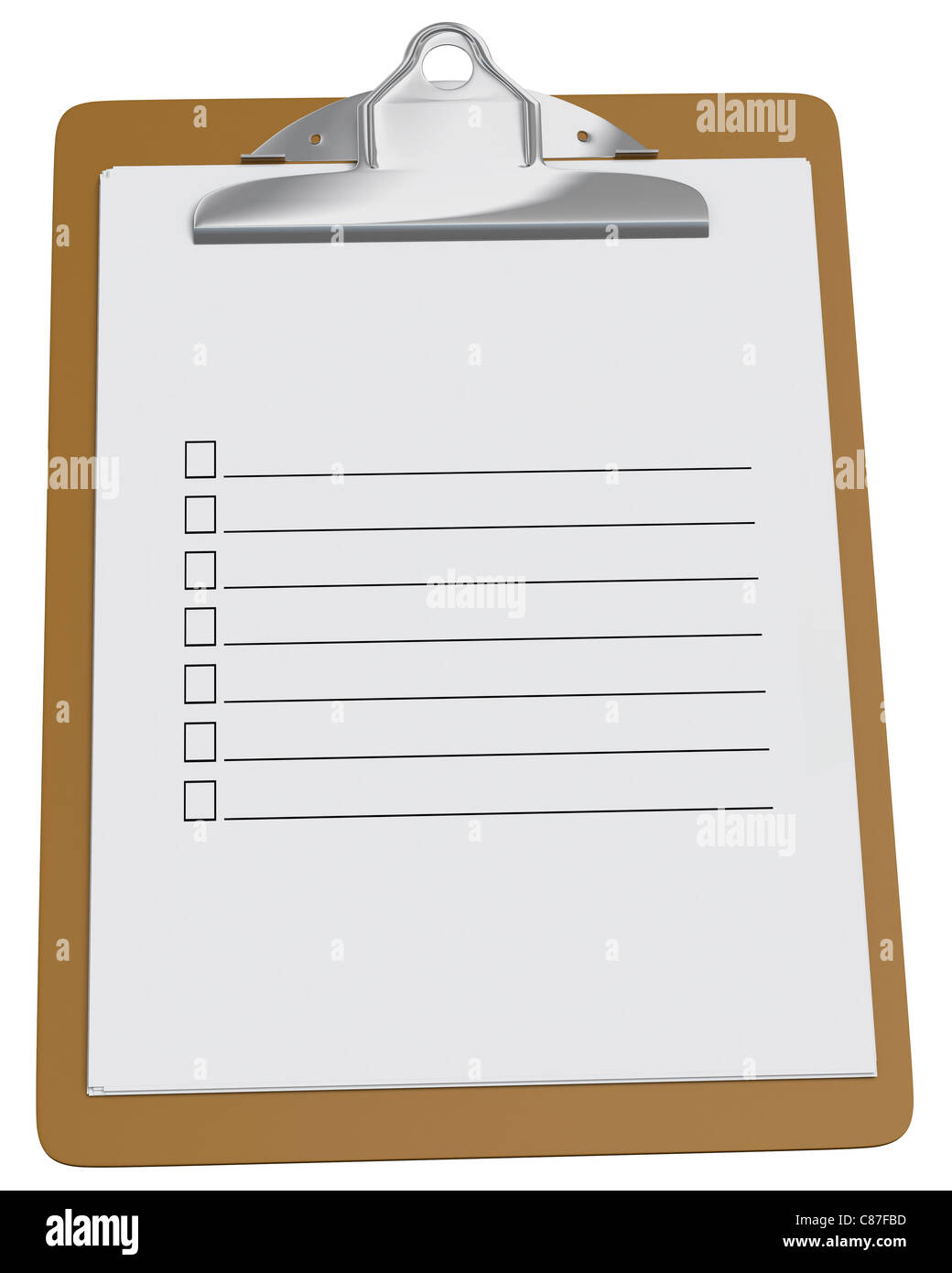 clipboard with blank checklist on a white background stock photo