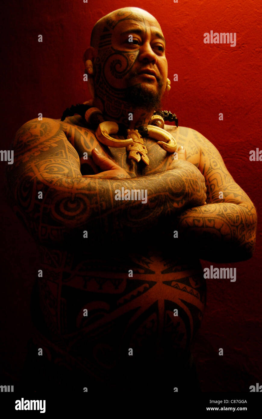 A Maori tattoo artist at the Tattoo Convention, Dresden, Germany Stock Photo