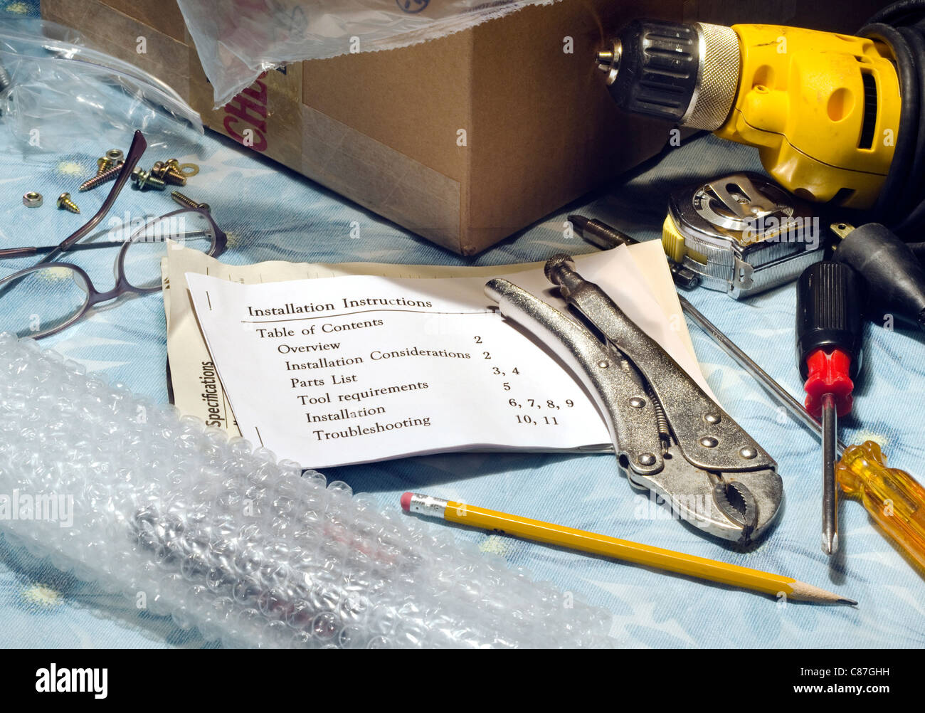 amateur tools with instruction booklet - Stock Image