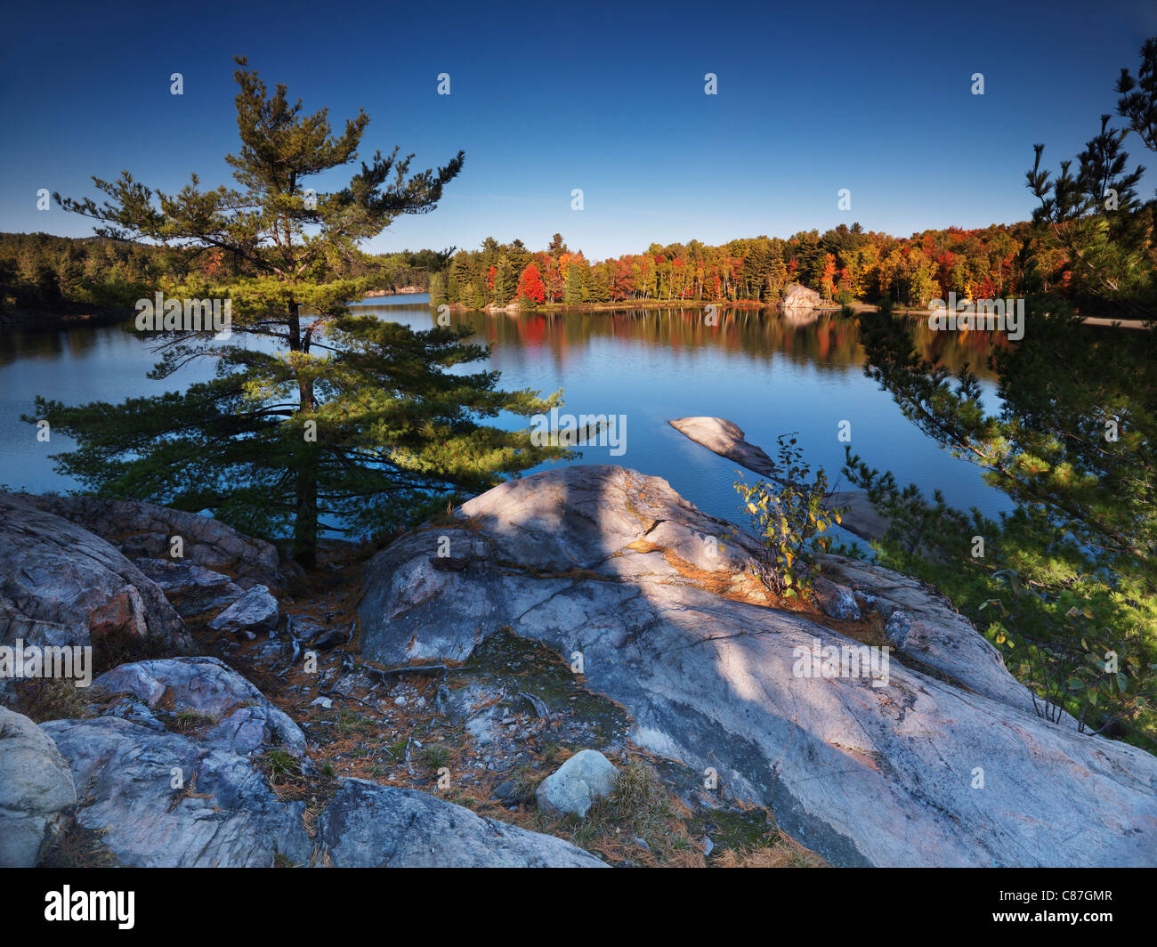Beautiful fall nature scenery of lake George during sunset. Killarney Provincial Park, Ontario, Canada - Stock Image