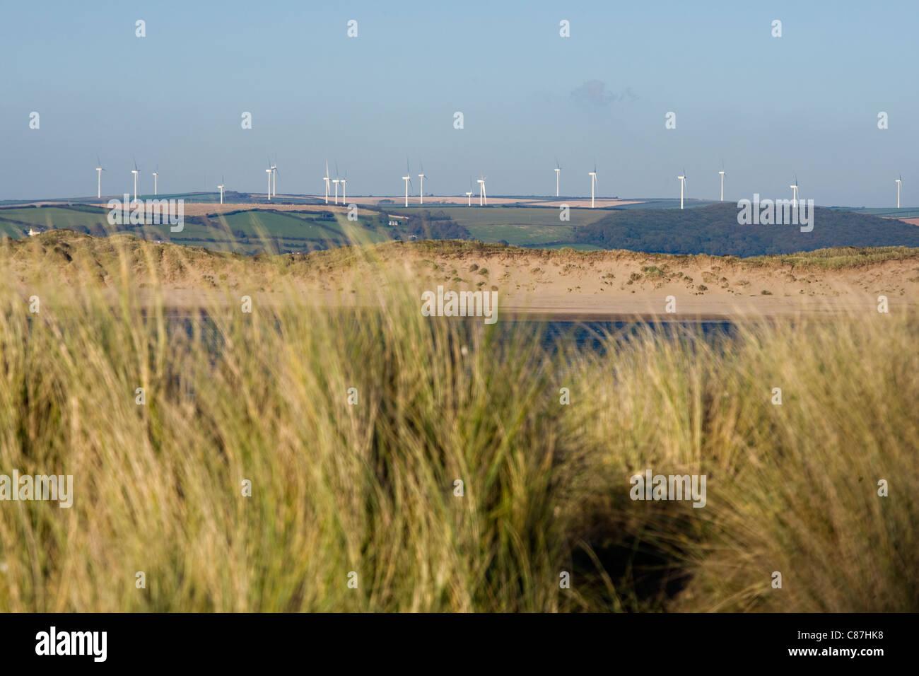 Fullabrook Wind Farm, North Devon, England UK - Stock Image