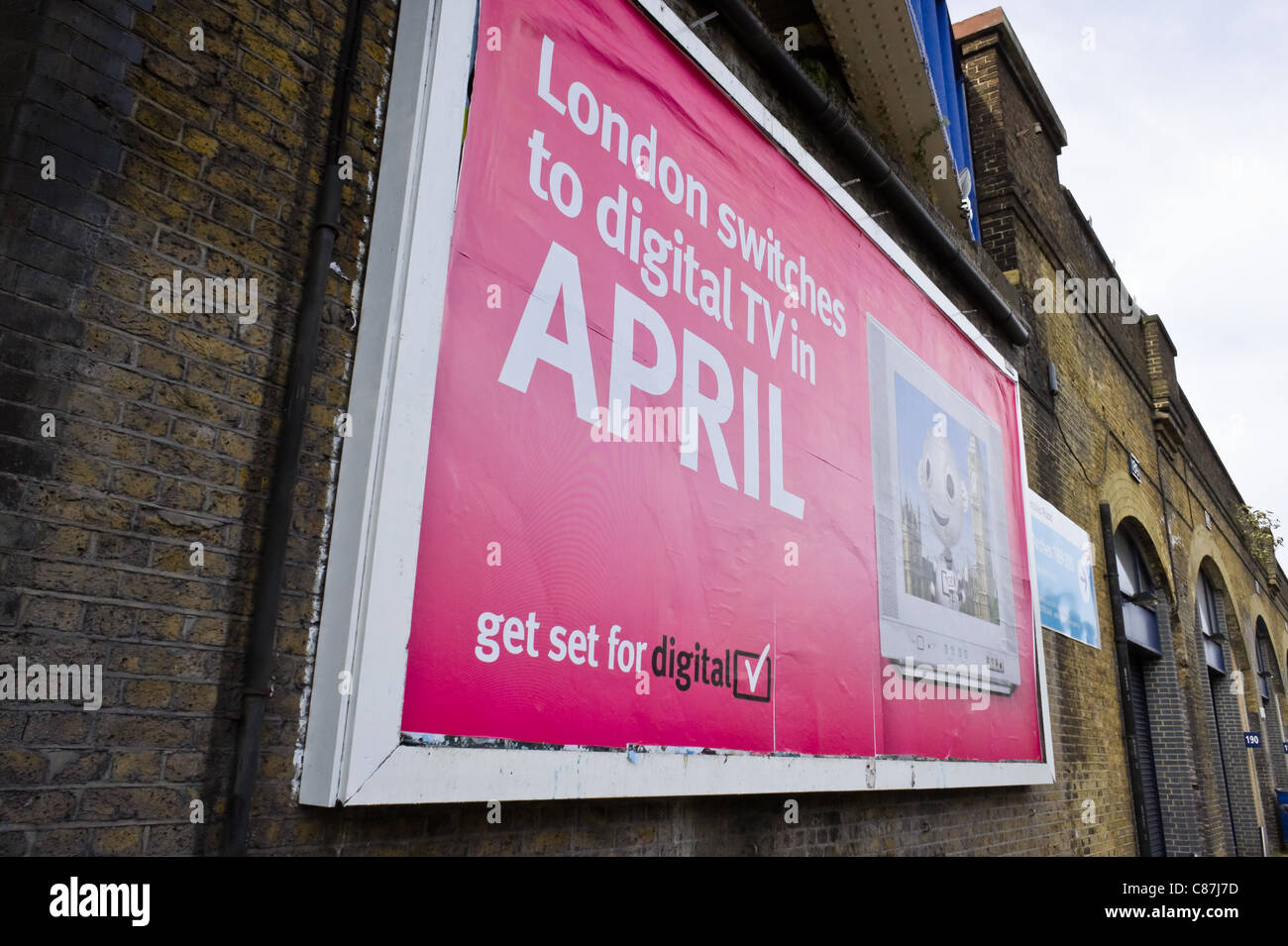 Billboard for digital TV switchover in London, due to take place in April 2012 - Stock Image