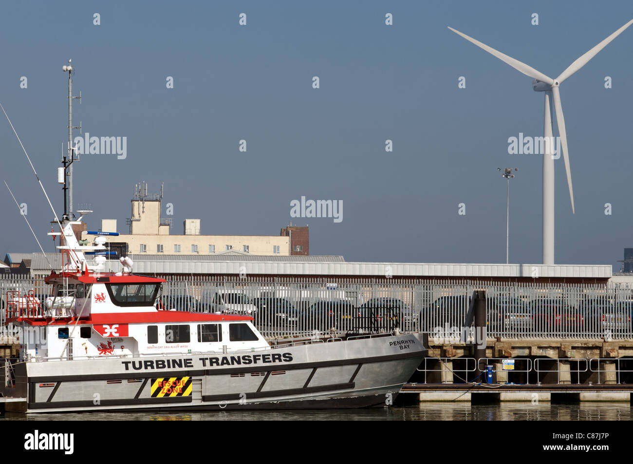 Motorboat used in the offshore wind farm industry, Lowestoft, Suffolk, UK. - Stock Image