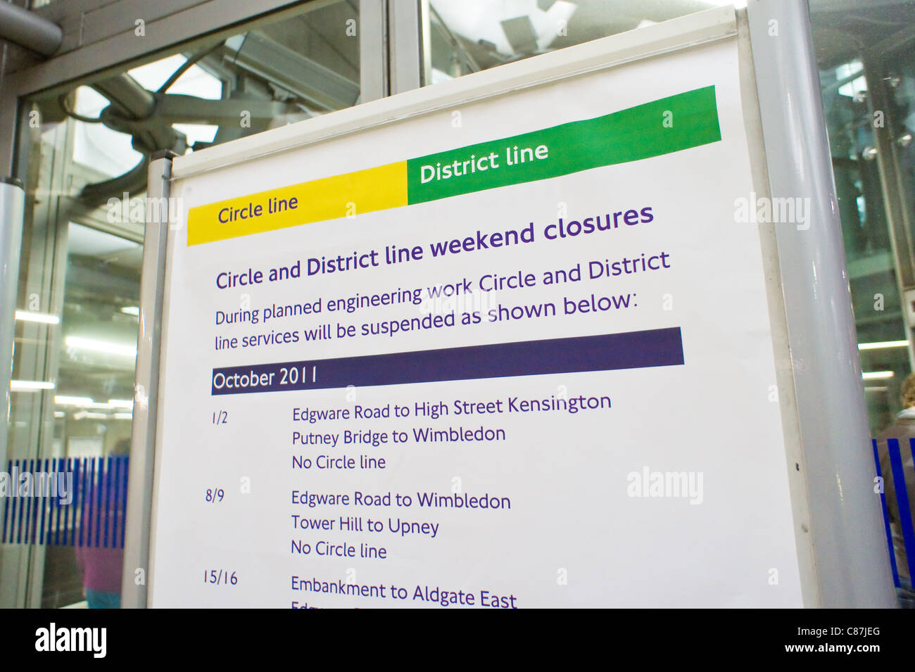 Details of planned weekend closures on the London underground, October 2011 - Stock Image