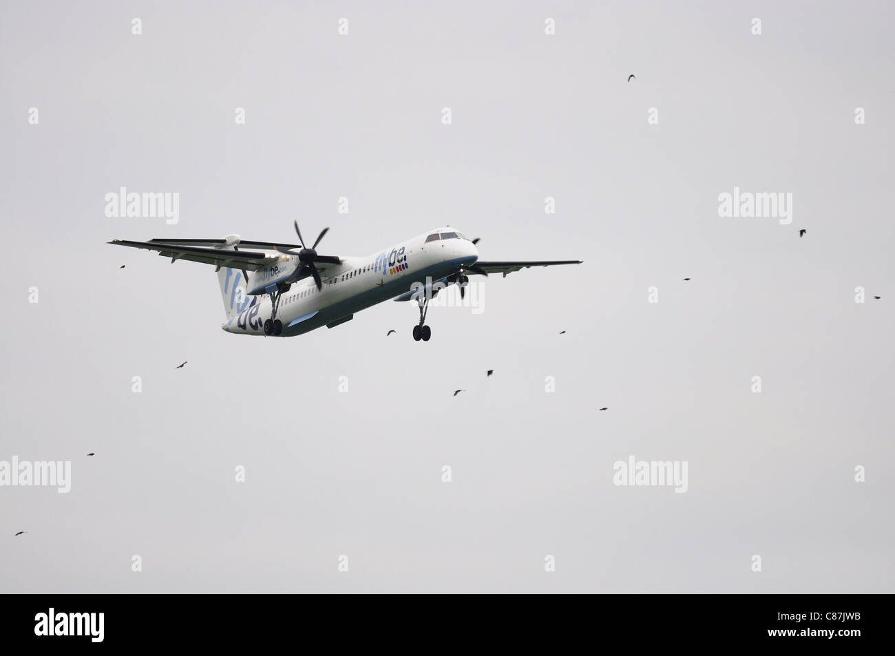 Flybe twin prop landing at Ringway airport Manchester - Stock Image