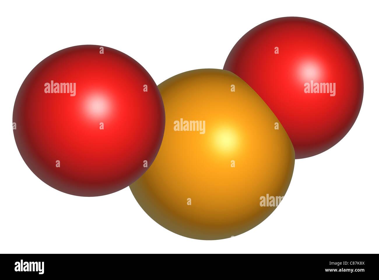 Molecule of Sulphur Dioxide - Stock Image
