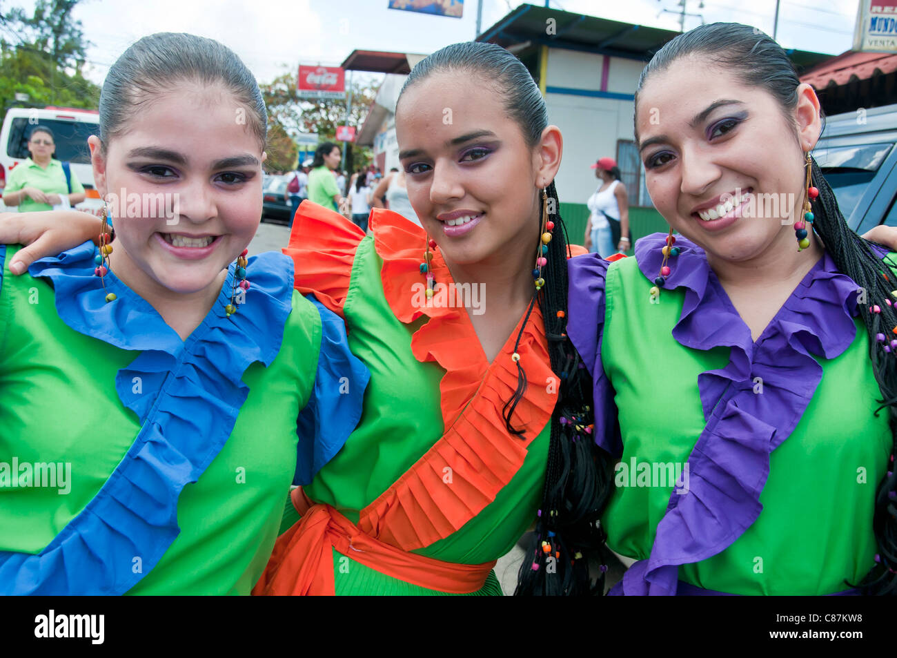 Costa Rican girls independence day Costa Rica - Stock Image