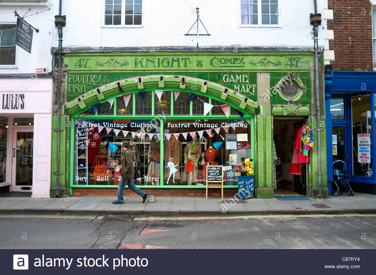 An old fresh food shop now used as a vintage clothes/decor shop, in Salisbury, Wiltshire, UK. - Stock Image