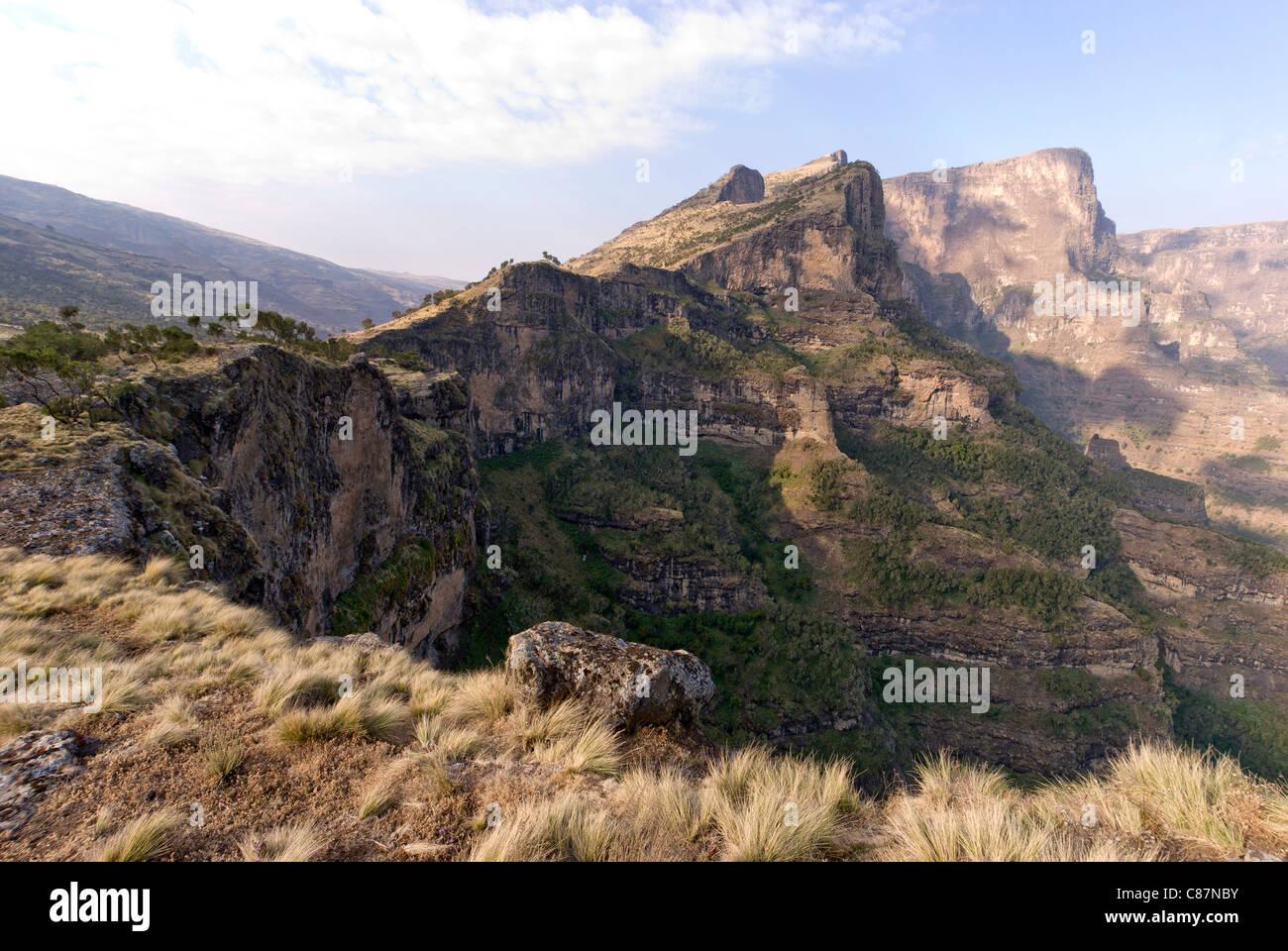 Ethiopia Simien escarpment landscape - Stock Image