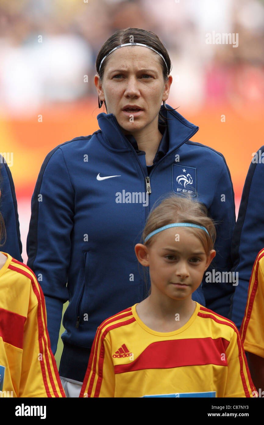 Elise Bussaglia of France stands during team introductions before the FIFA Women's World Cup third place match - Stock Image