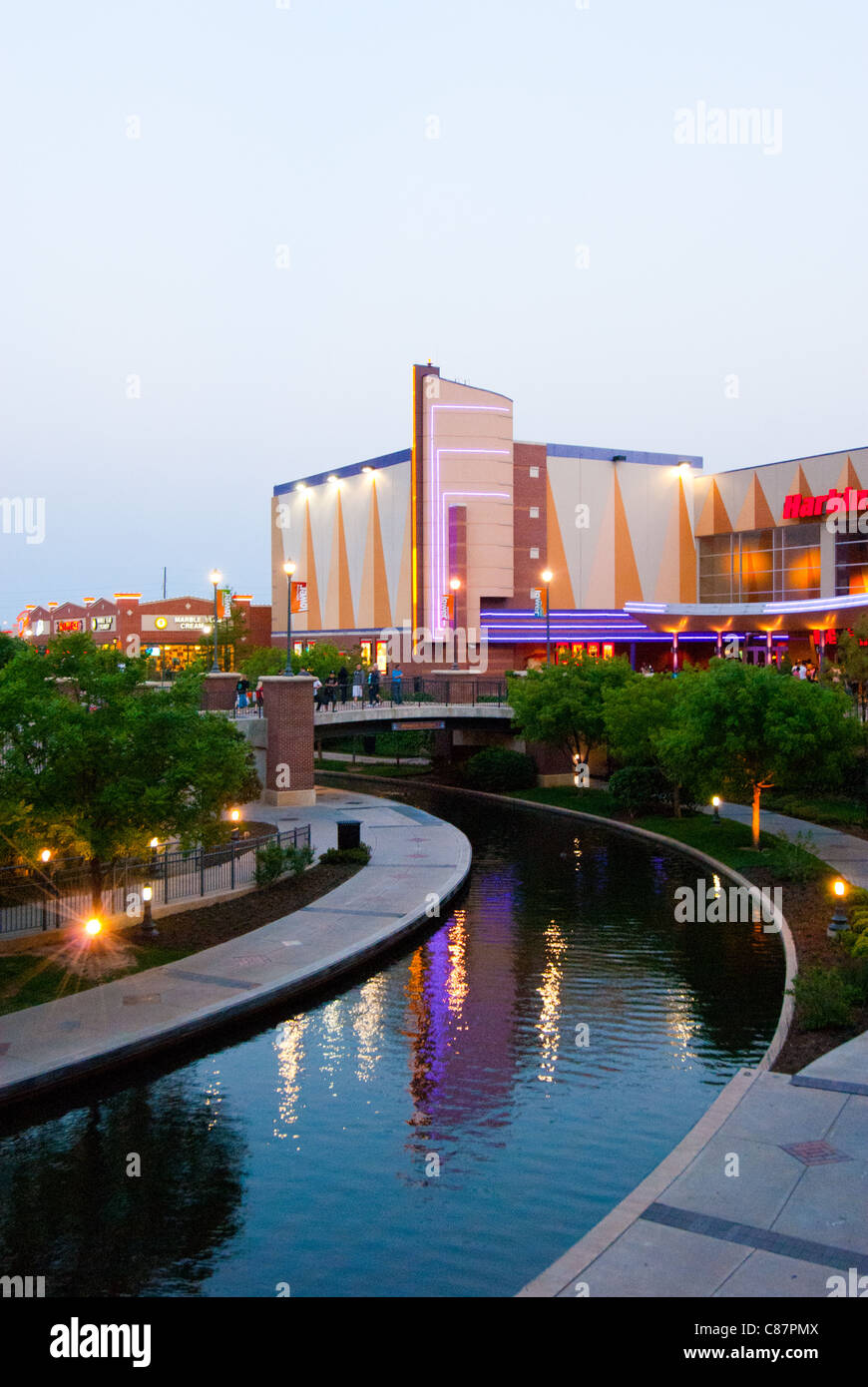 Bricktown Canal in the Bricktown entertainment district near downtown Oklahoma City, Oklahoma, USA - Stock Image