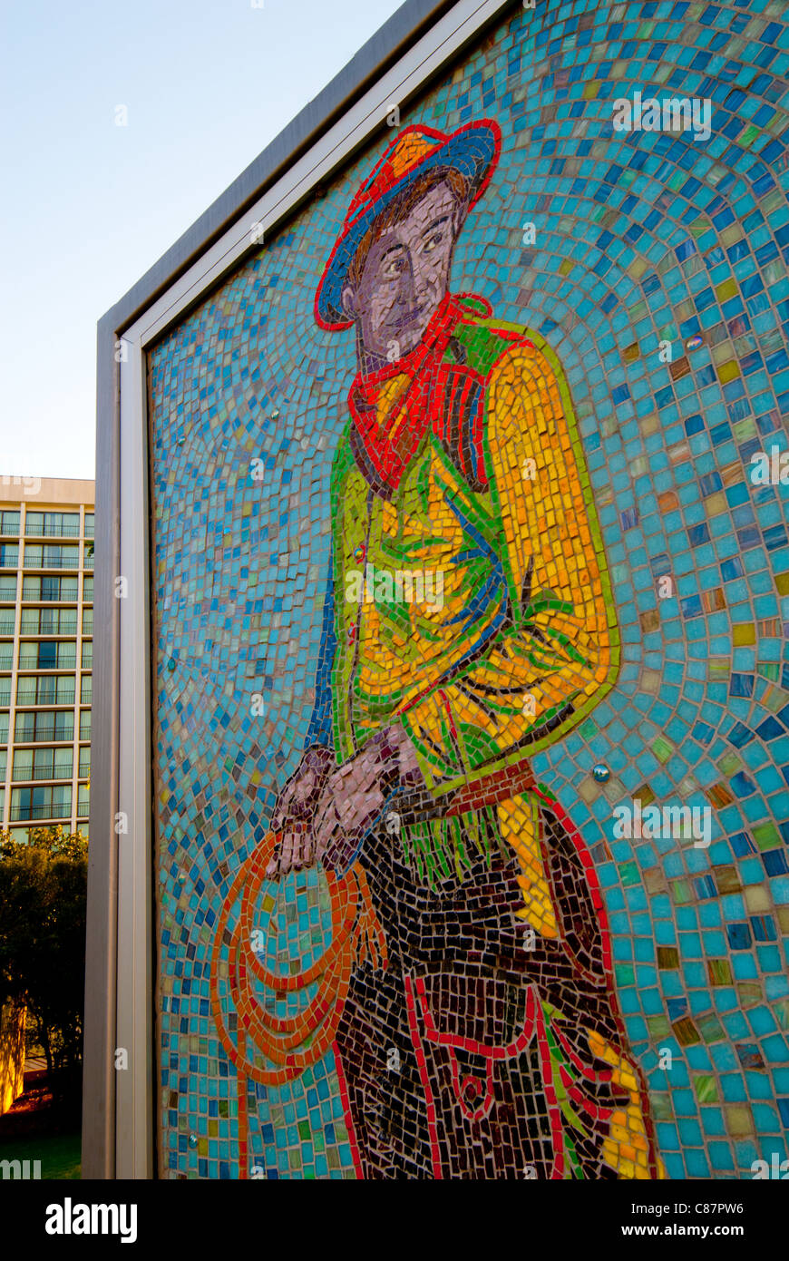 """""""Will"""", a 4-by-7 ft mosaic mural of Will Rogers by Linda Allen in Williams Center Green in downtown Tulsa, Oklahoma, Stock Photo"""