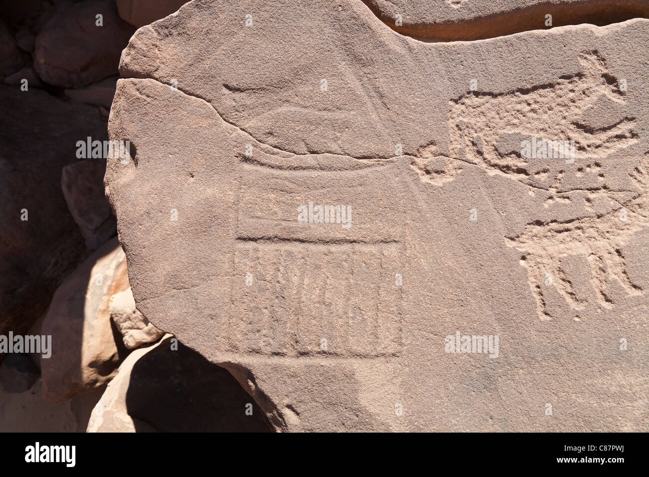 Rock-art showing early dynastic serekhs in the Eastern Desert of Egypt, North North Africa - Stock Image