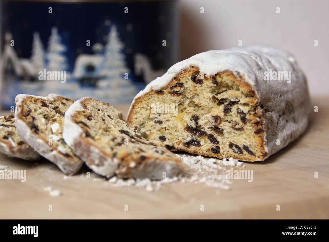Stollen (traditional german christmas cake) - Stock Image