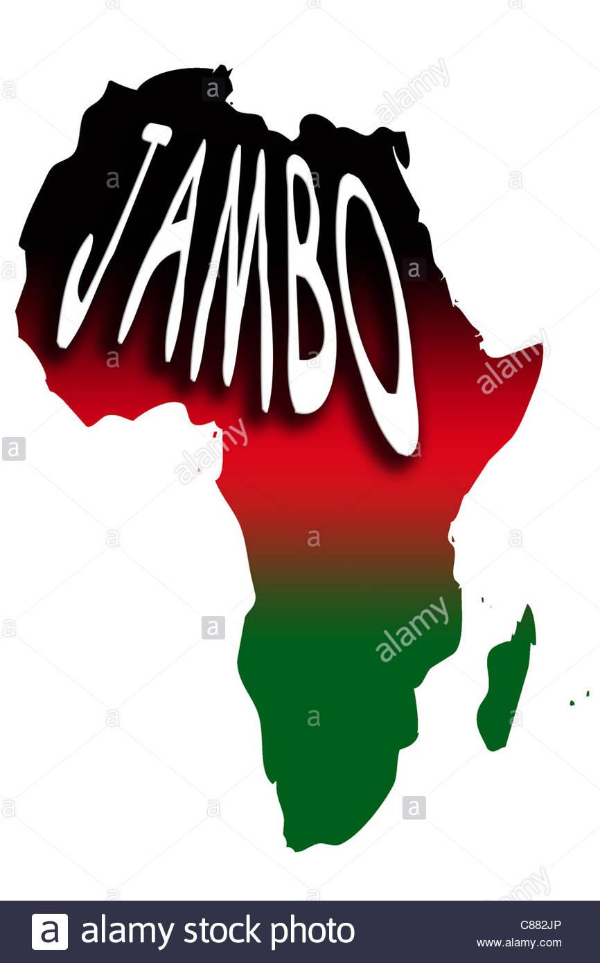 Digital illustration - Jambo (Hallo - Swahili) map of Africa and Kenyan flag colours. Stock Photo