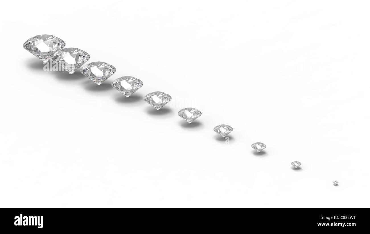 diamond gemstone isolated on white with shadows - Stock Image