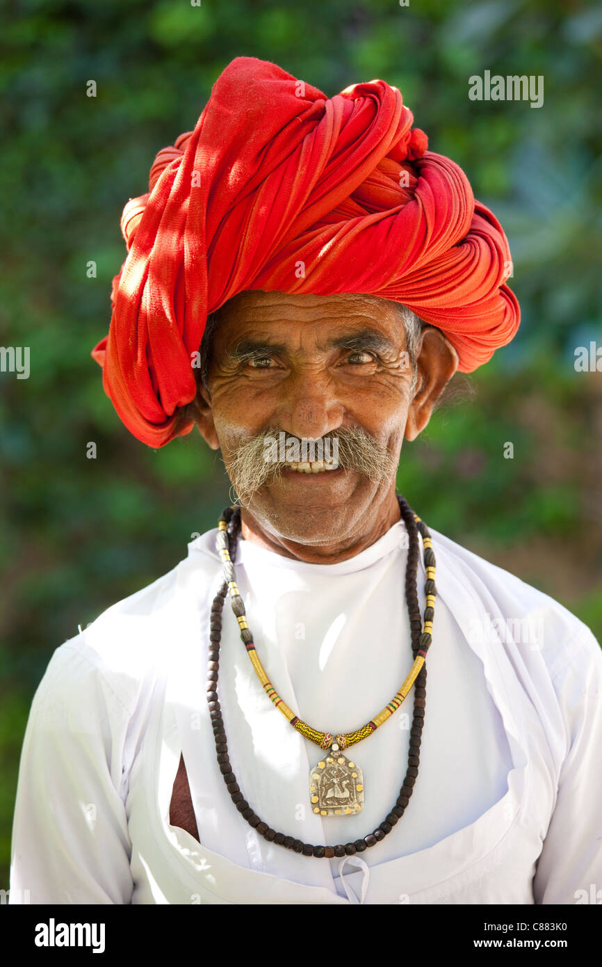 Indian man with traditional Rajasthani turban in Narlai village in Rajasthan, Northern India Stock Photo