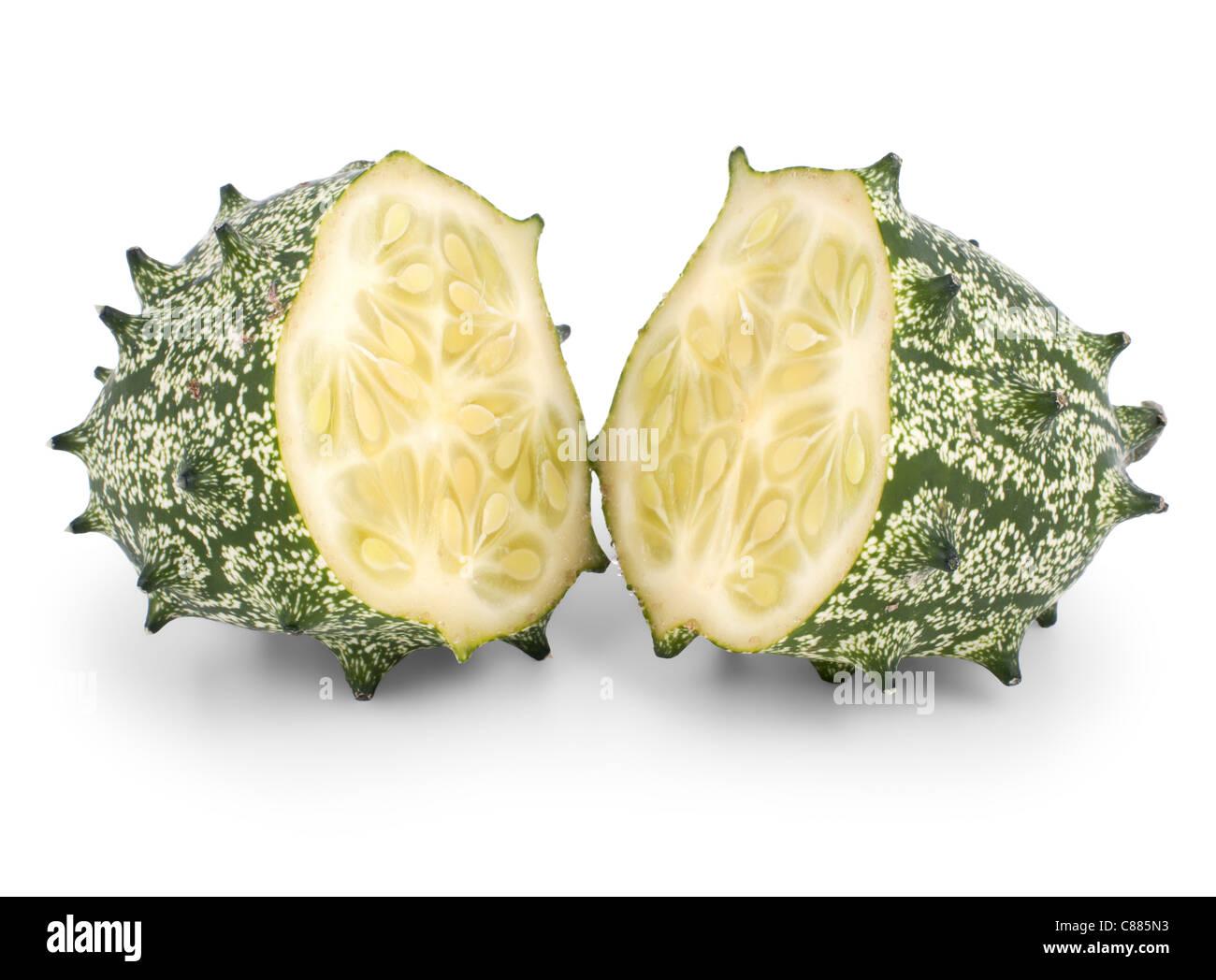 kiwano melon isolated on white background - Stock Image