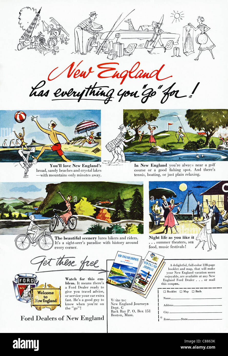 American magazine advertisement circa 1954 advertising vacations in NEW ENGLAND - Stock Image