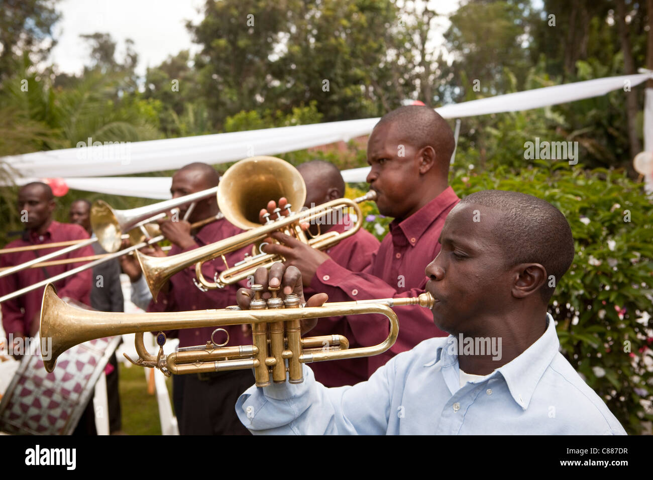 A brass band plays at a wedding outside of Arusha, Tanzania, East