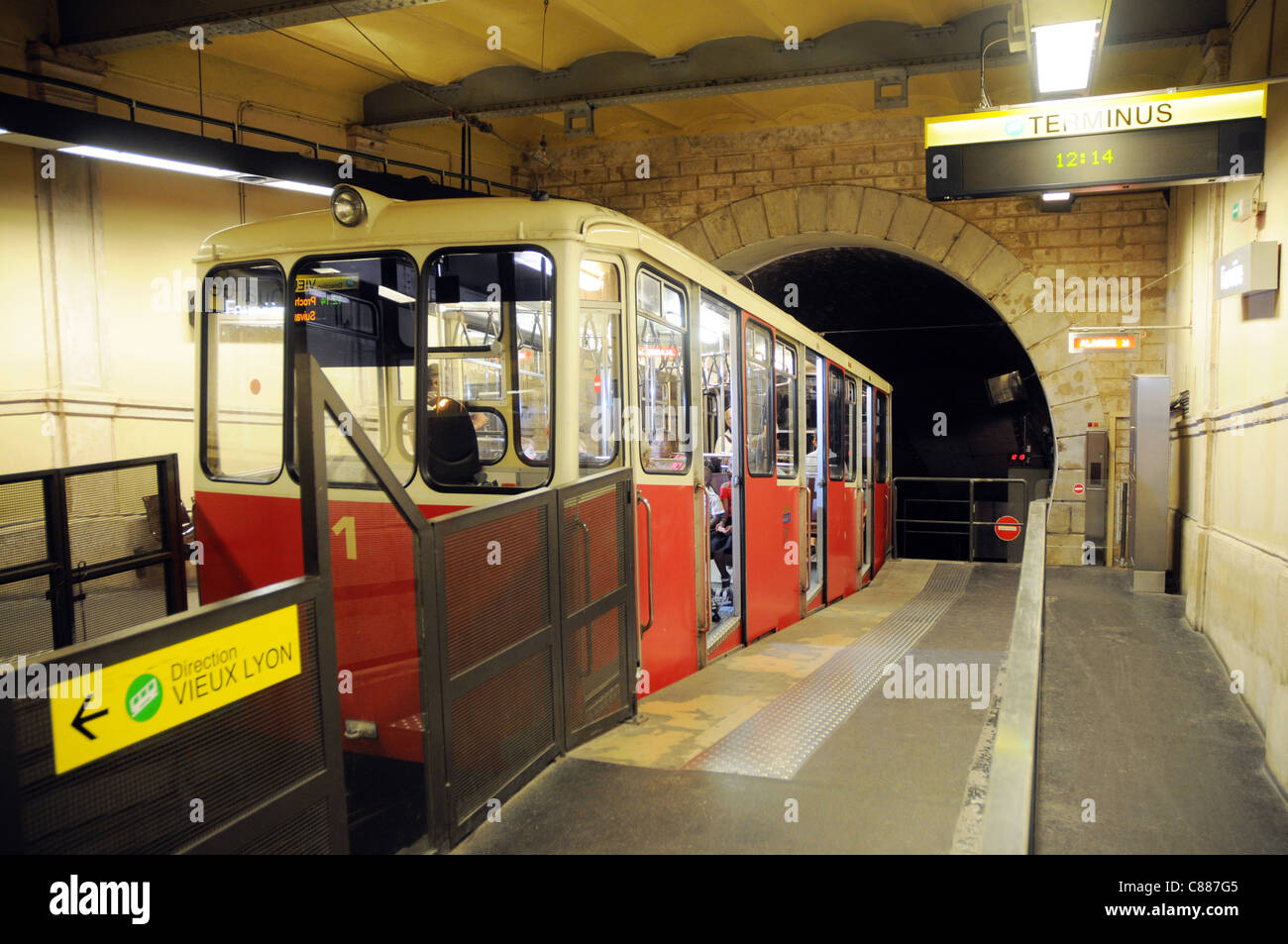 Vieux Lyon station of cable railway in Lyon city, France Stock Photo