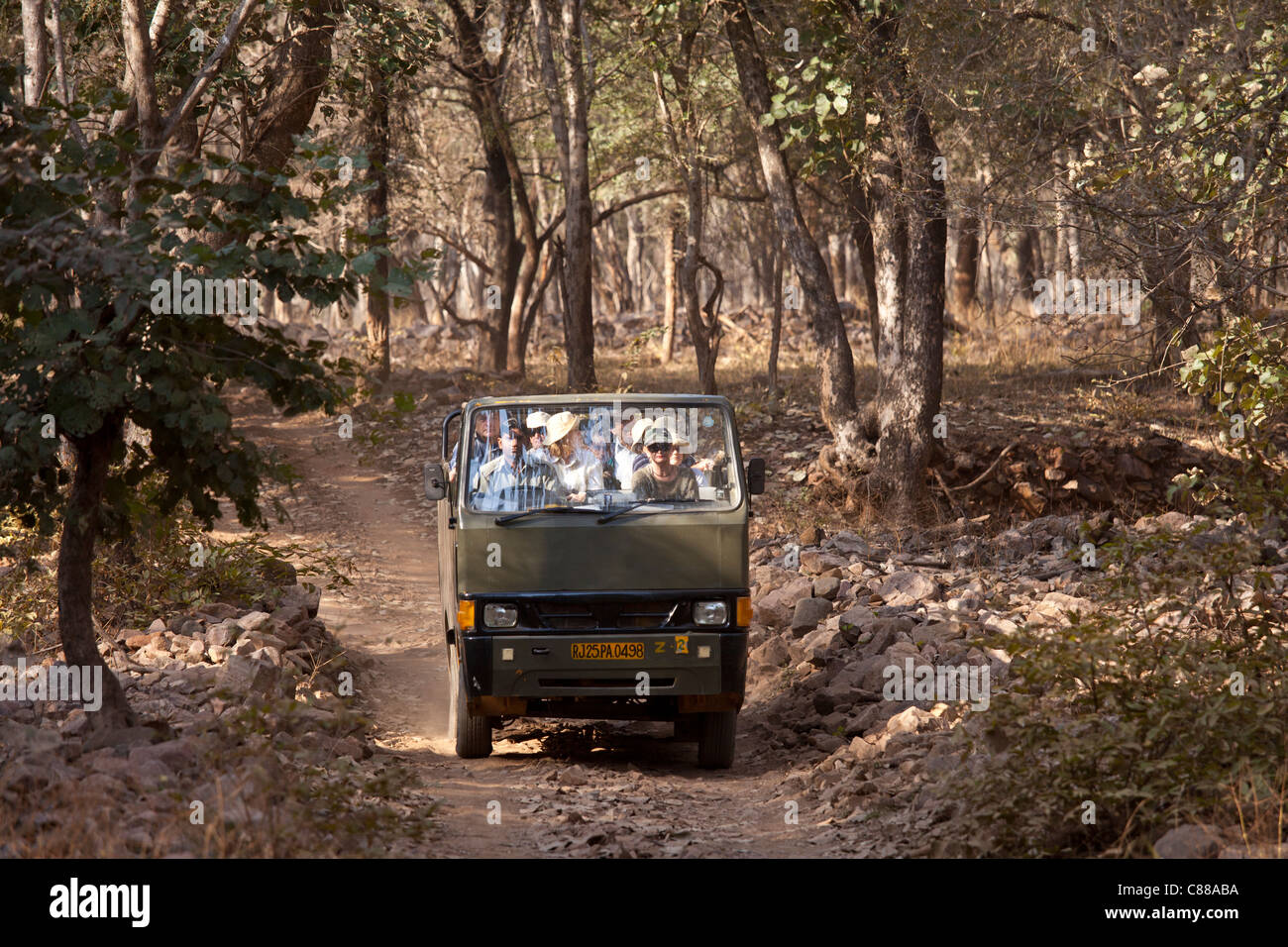 Tour group of eco-tourists in Ranthambhore National Park, Rajasthan, Northern India - Stock Image