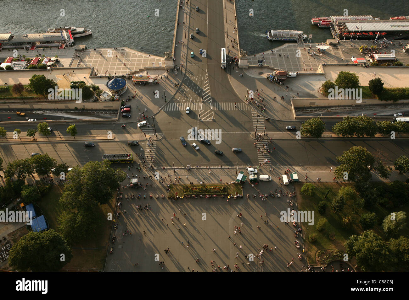 Embankment of the River Seine from the Eiffel Tower in Paris, France. Stock Photo