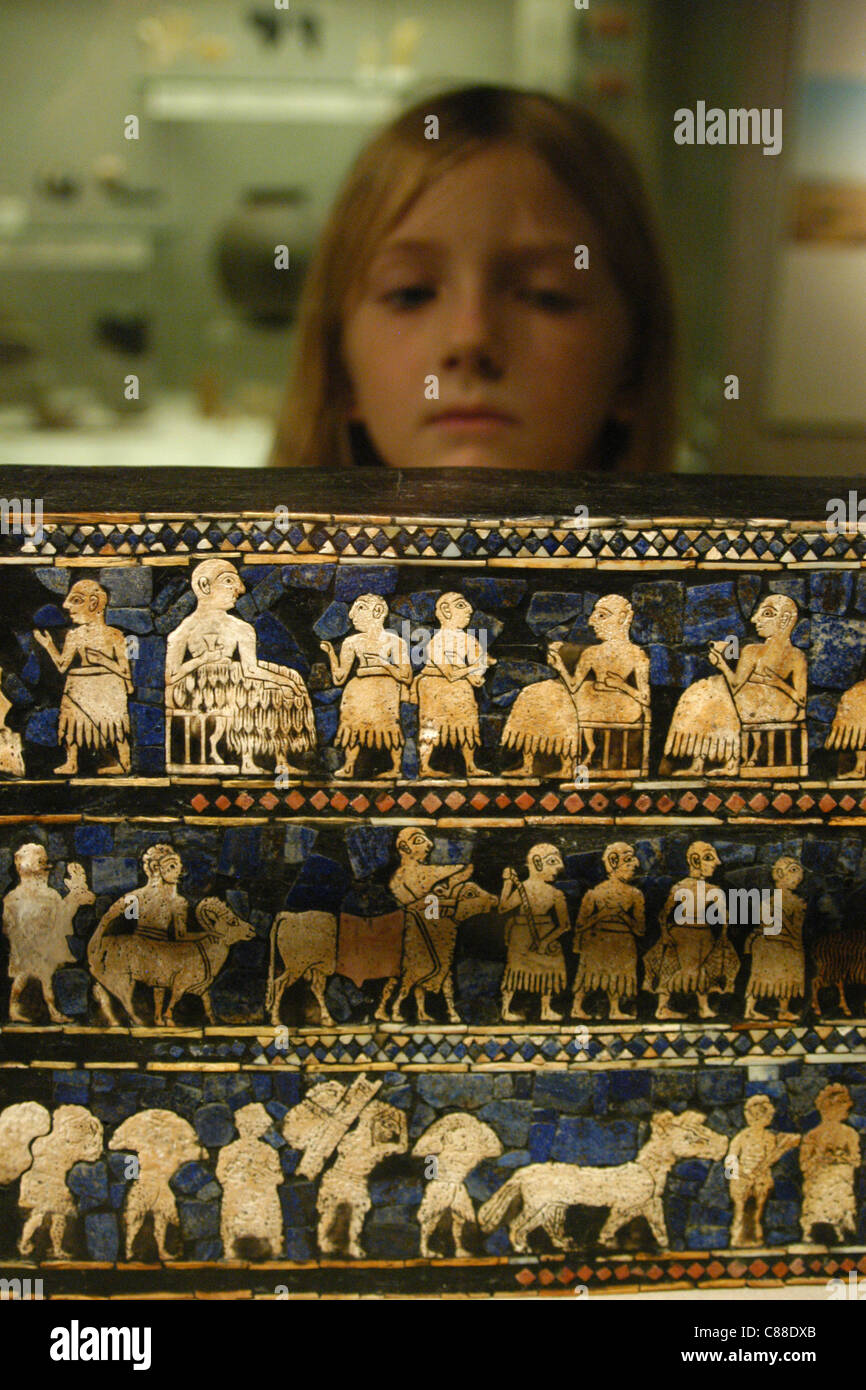 The Standard of Ur seen at the British Museum in London, England, UK. - Stock Image