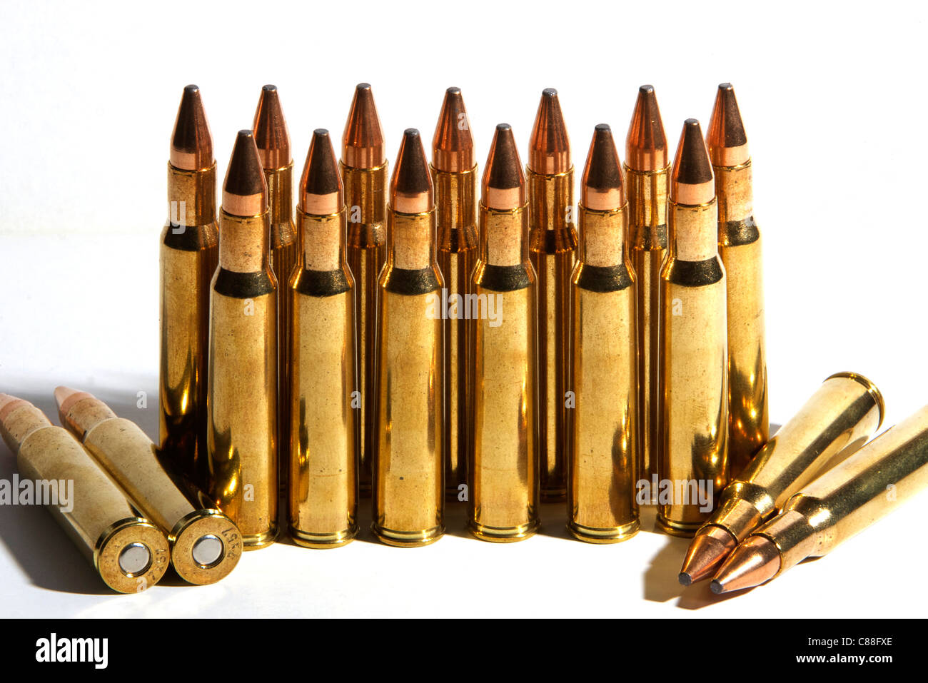 Hunting Rifle Bullets - Stock Image