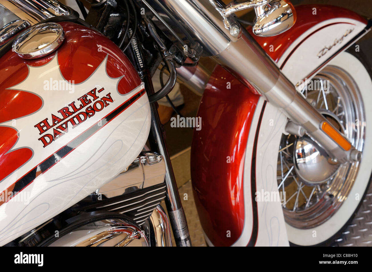 Closeup of Harley Davidson Motorcycle - Stock Image