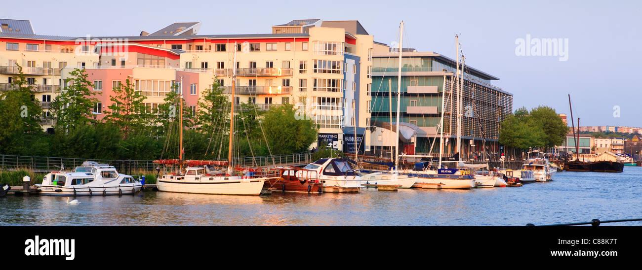 Bristol Harbour Waterfront and modern developments Bristol Avon England - Stock Image