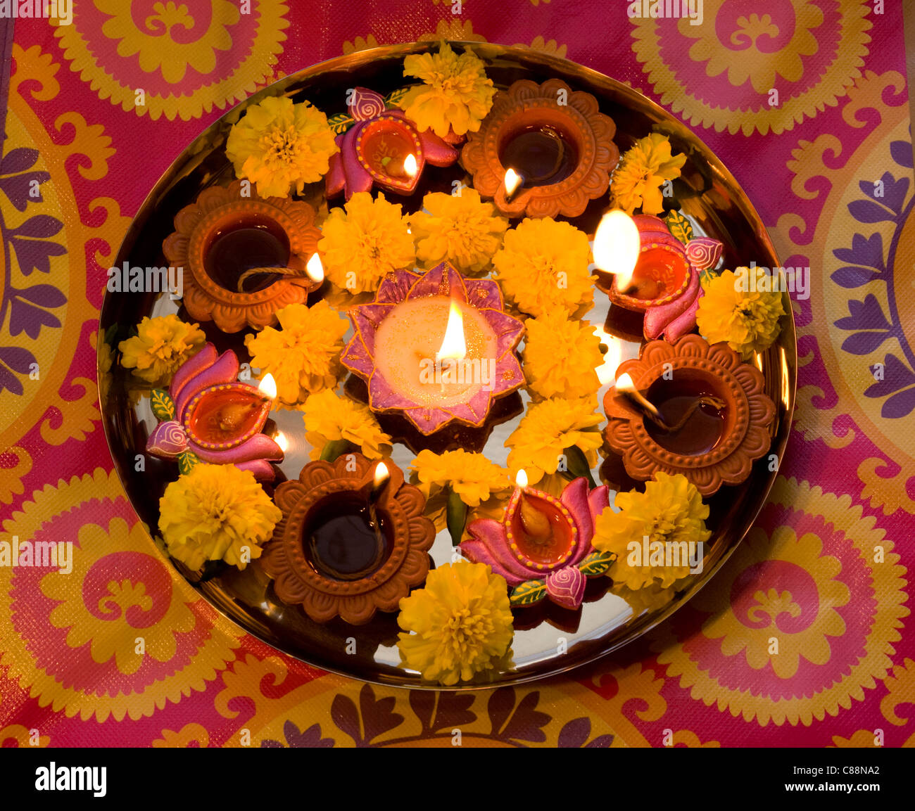 Diwali candles lit for Indian holiday of Diwali, India - Stock Image