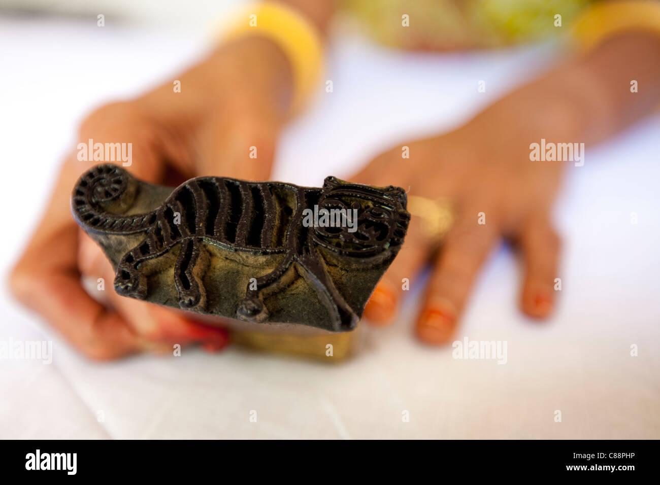 Indian tiger motif die stamping pad at Dastkar women's craft co-operative, Ranthambore Artisan Project, Rajasthan, - Stock Image