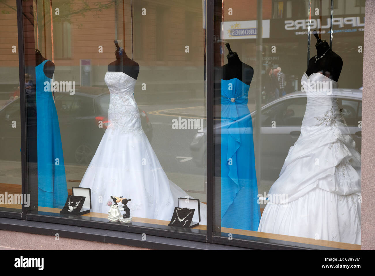 wedding dresses in the window of a bridal shop belfast city centre ...