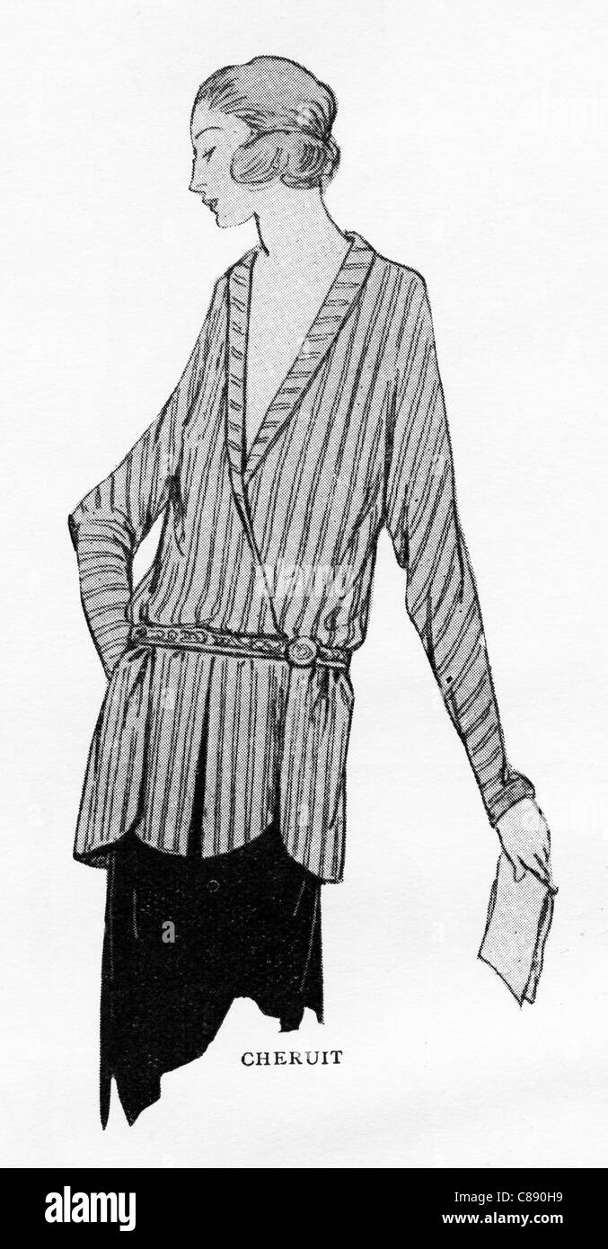 Fashion illustration circa 1922. Silver and salmon silk stripped blouse by designer Madeleine Chéruit (died - Stock Image