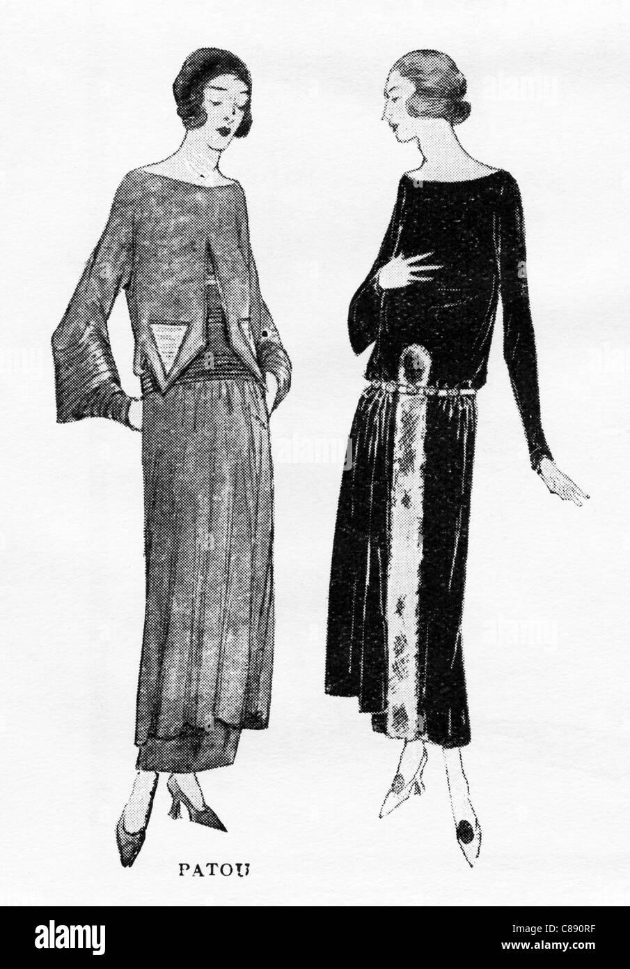 Fashion illustration circa 1922 garments by French designer  Jean Patou (1887 - 1936) - Stock Image