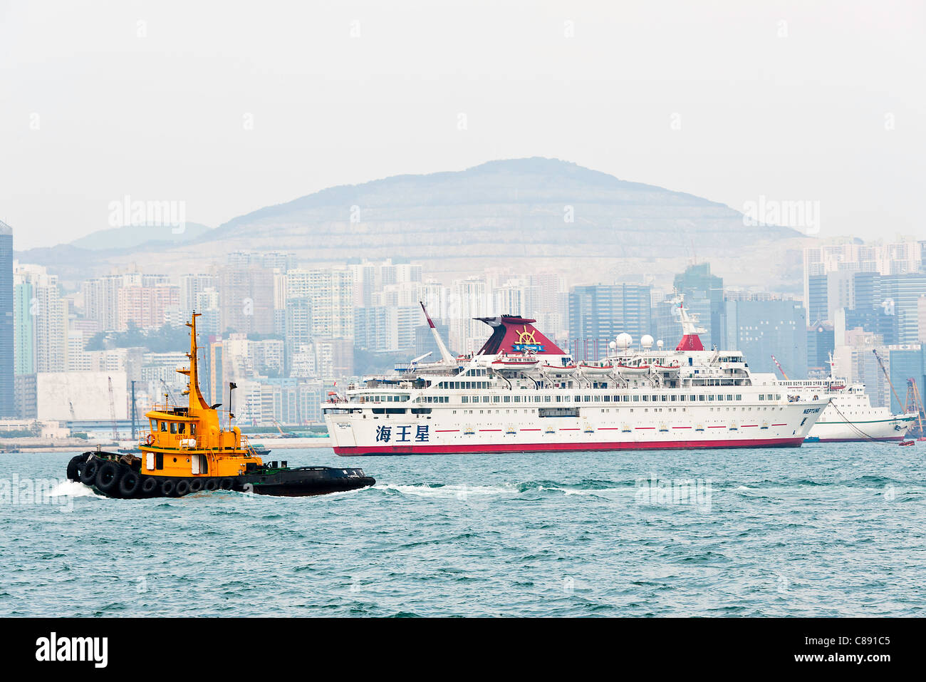 Cruise Ships Anchored in Victoria Harbour near Kowloon Hong Kong China Asia Stock Photo