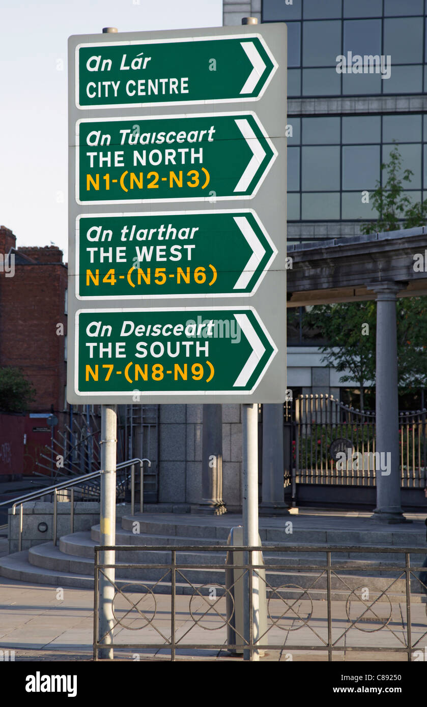 Dublin Signpost With English And Gaelic Wording Indicating The City Centre North