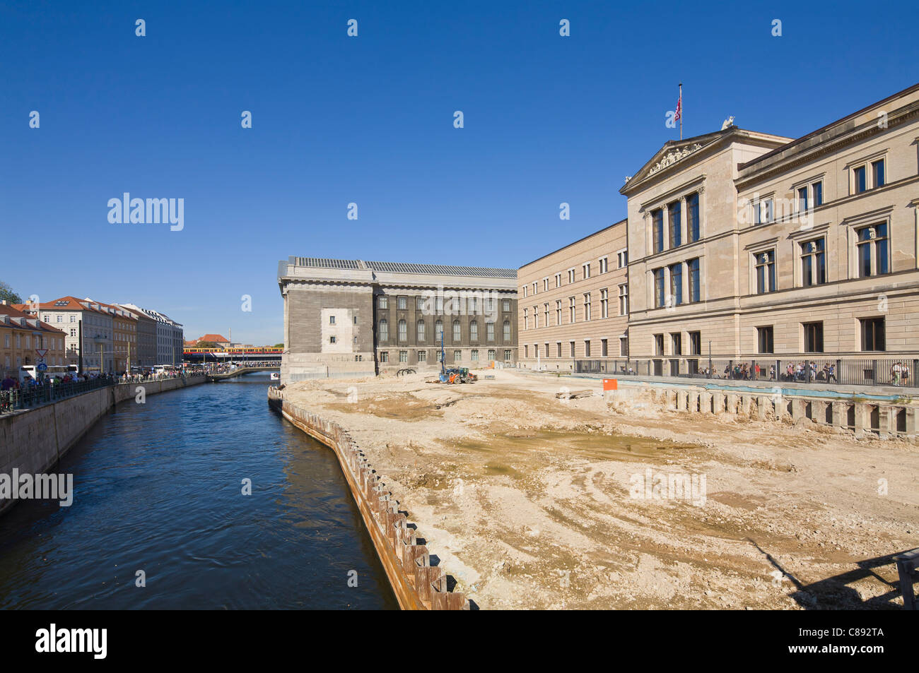 """Neues Museum"" and Pergamonmuseum at ""Museum Island"" with construction site Berlin Germany Europe Stock Photo"