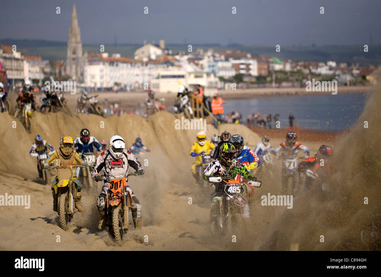 weymouth beach motorcross october 16th 2011 - Stock Image