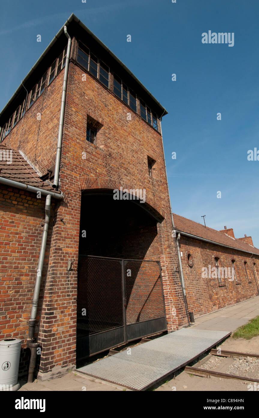 Train entrance to Auschwitz II - Birkenau extermination camp, Oswiecim, Poland - Stock Image