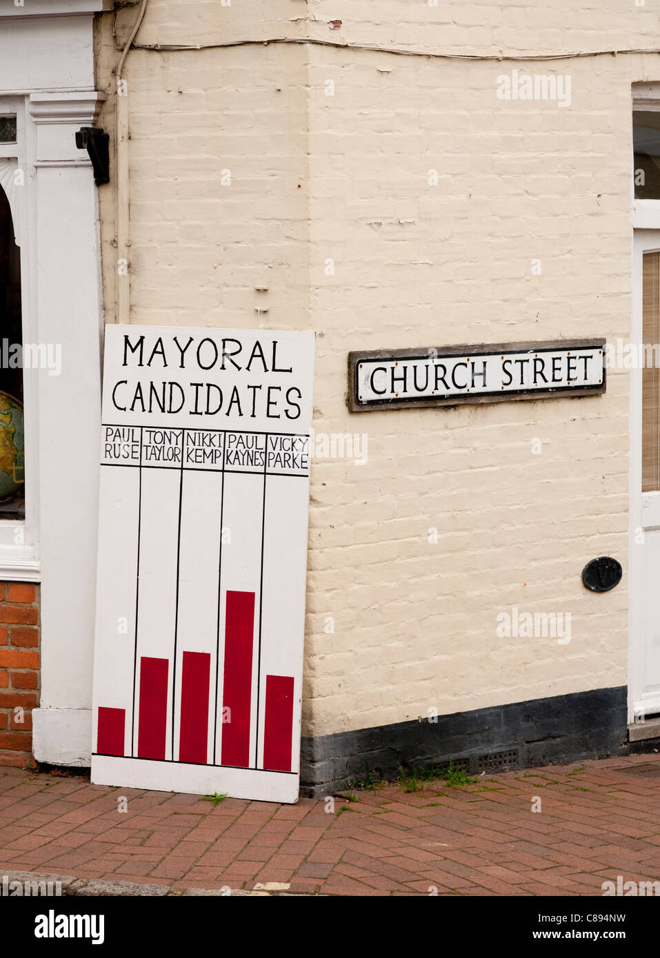 The mayoral election results for the 'Independent State of Cuckfield' Cuckfield, West Sussex - Stock Image
