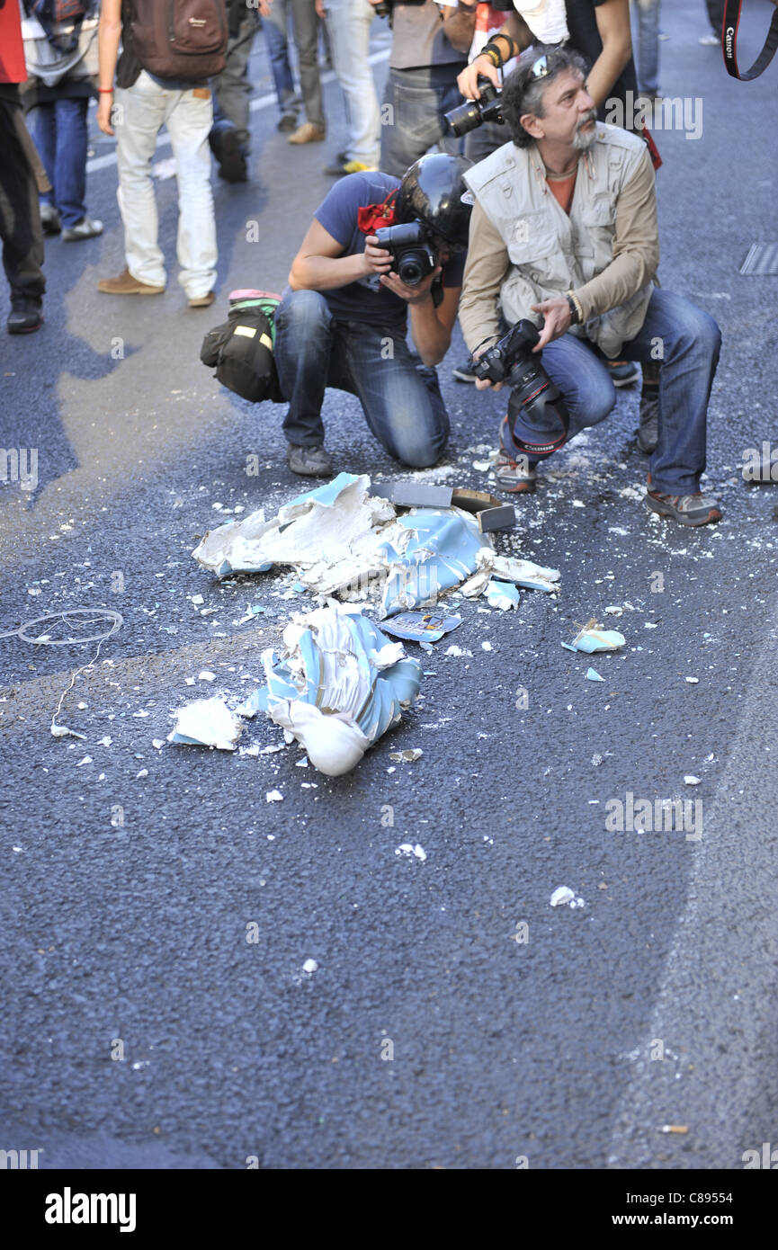 Indignants Protest in Rome turns violent Stock Photo