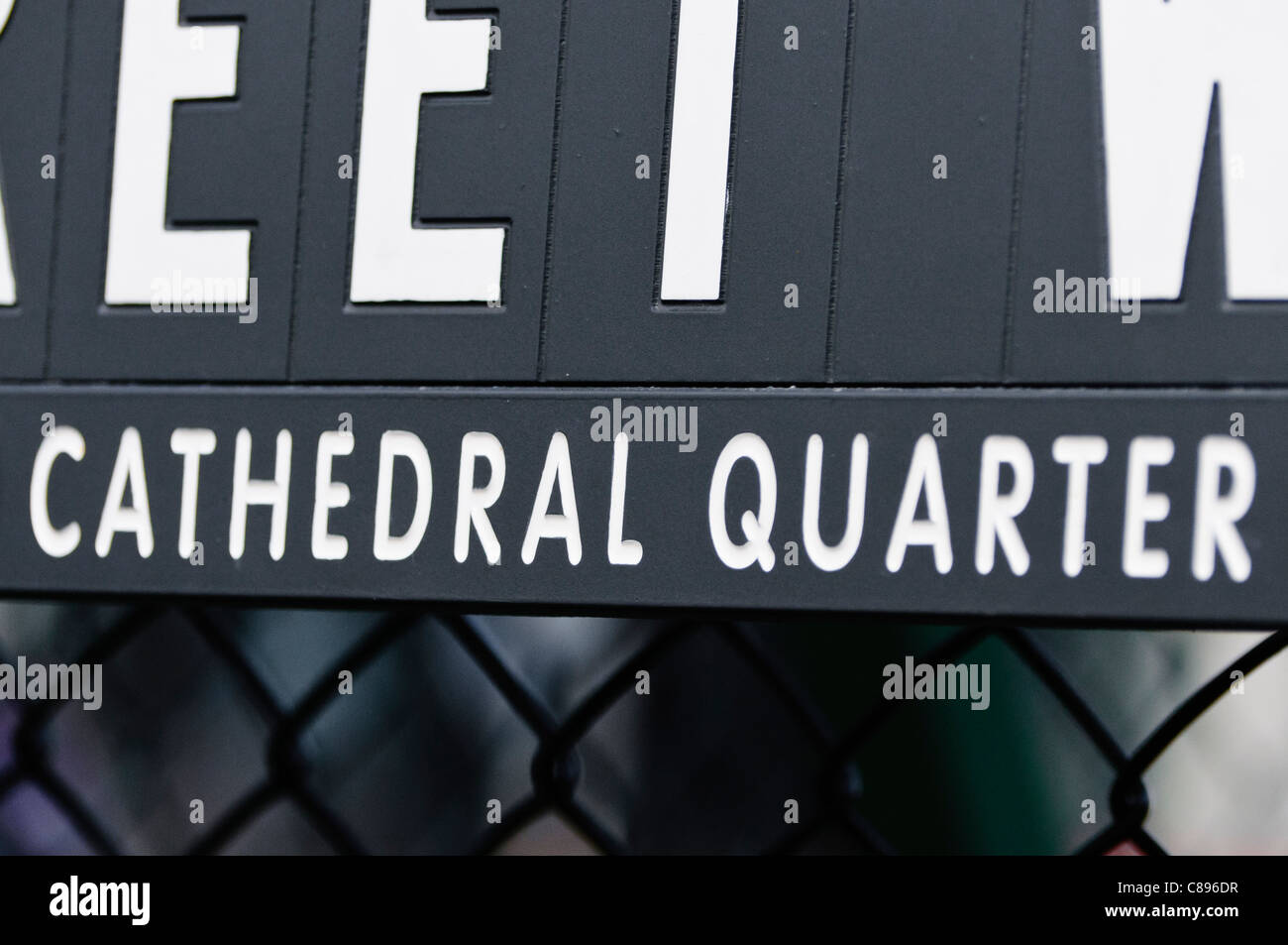 Street Sign in Belfast's Cathedral Quarter - Stock Image