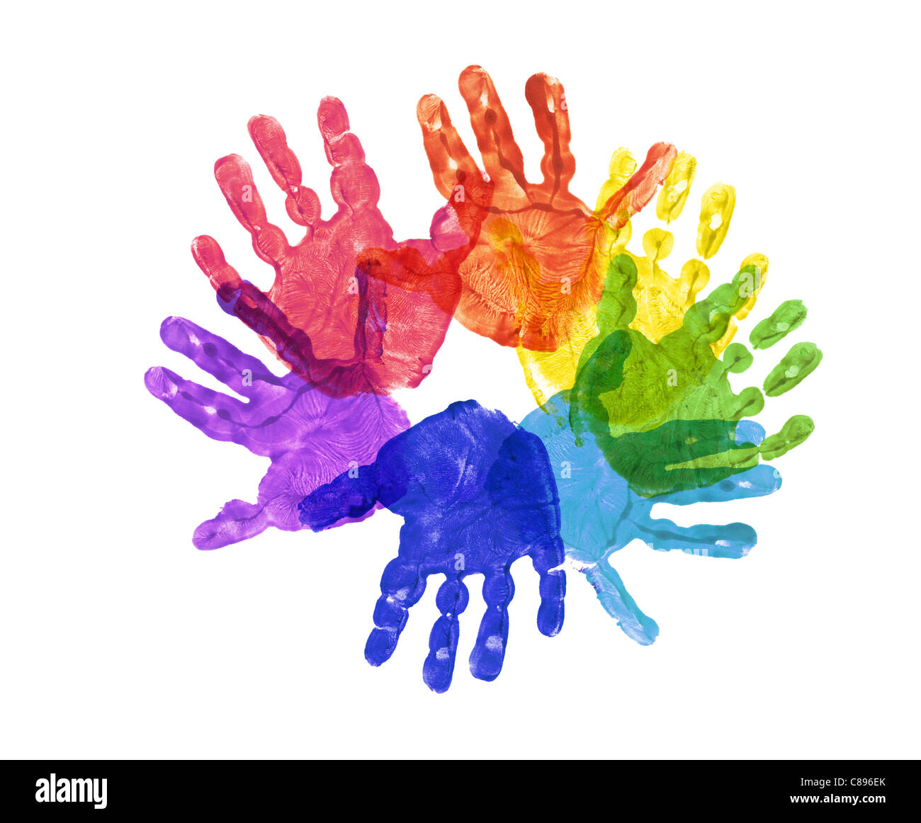 a flower made out of children's hand prints in rainbow colors Stock Photo