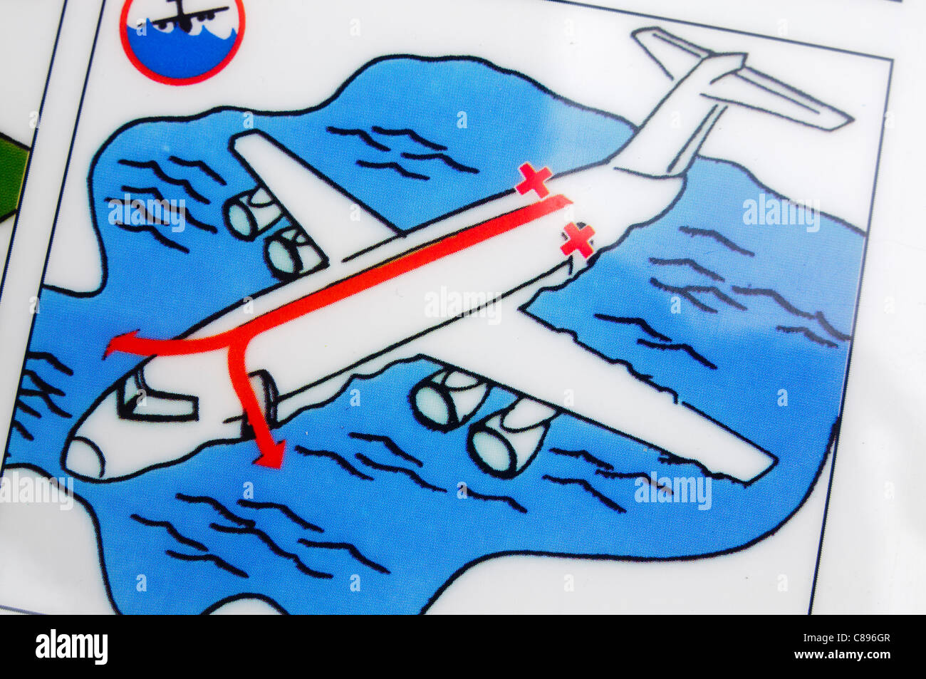 Closeup of an airline safety card showing how to evacuate in the event of an emergency landing on water in a Dash - Stock Image